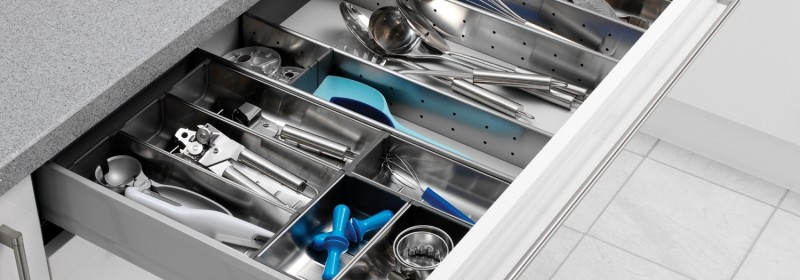 Image of kitchen drawer with cutlery and utensils neatly organised
