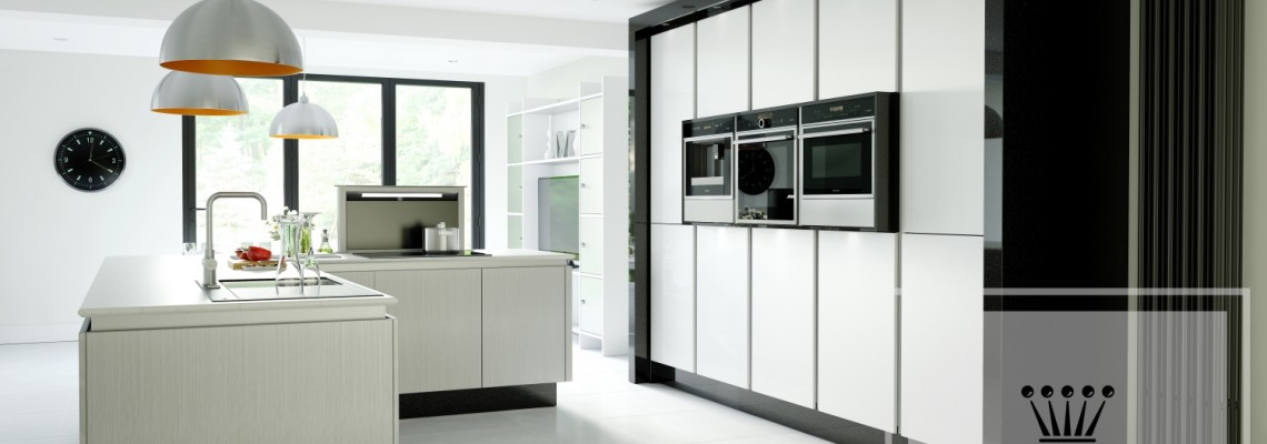 Image of modern kitchen with white island and cabinets and black contrast