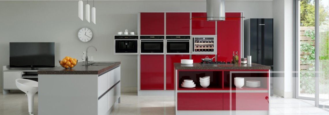 Image of kitchen with two islands with red and grey cabinetry
