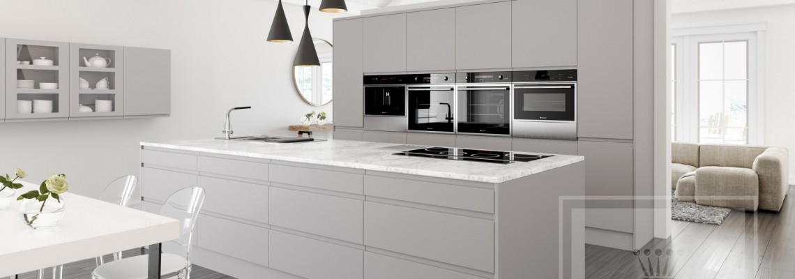 Interior image of kitchen with cashmere handleless cabinetry