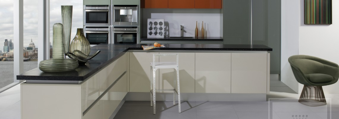 Interior image of kitchen with cream gloss cabinetry