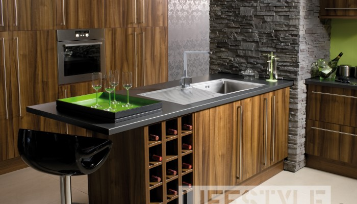 Image of kitchen using modern wood cabinets and lime green accents