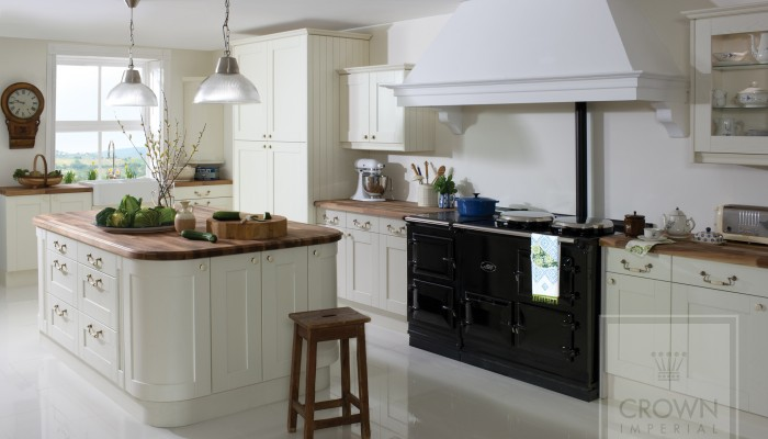 Image of kitchen with oyster painted wood cabinetry