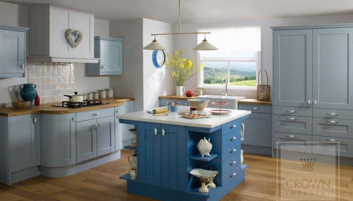 Image of kitchen with blue painted wood cabinetry