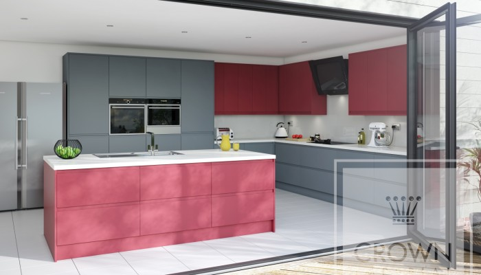 Image of kitchen with matt grey and red cabinetry and white accents