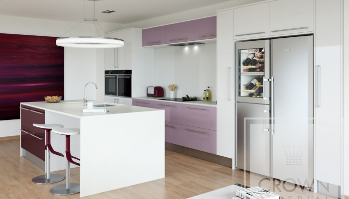 Image of kitchen with gloss modern mix cabinetry in lilac and blackberry