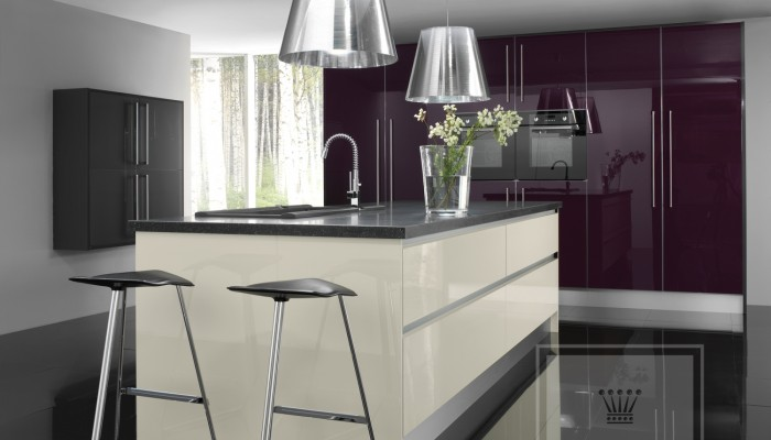 Image of kitchen with oyster and black gloss cabinets