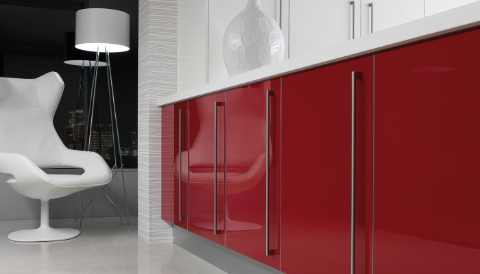Image of red gloss kitchen cabinet doors with white gloss contrast