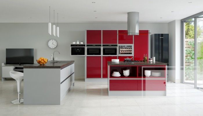 Image of kitchen with red gloss cabinetry and grey contrast