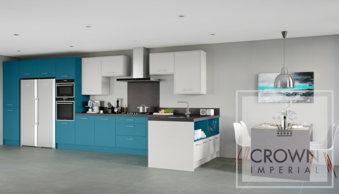 Interior kitchen image of teal blue cabinetry and grey accents