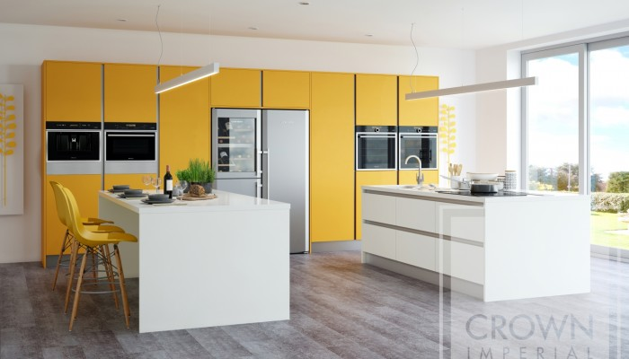 Interior kitchen image of rialto range cabinets in yellow gloss and white accents
