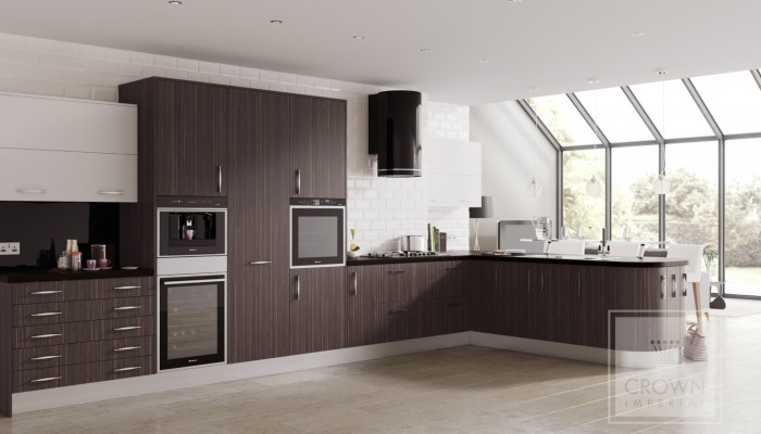 Image of kitchen with ebony wood grain matt cabinetry and white accents