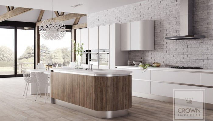 Image of kitchen with white and olive light matt cabinetry