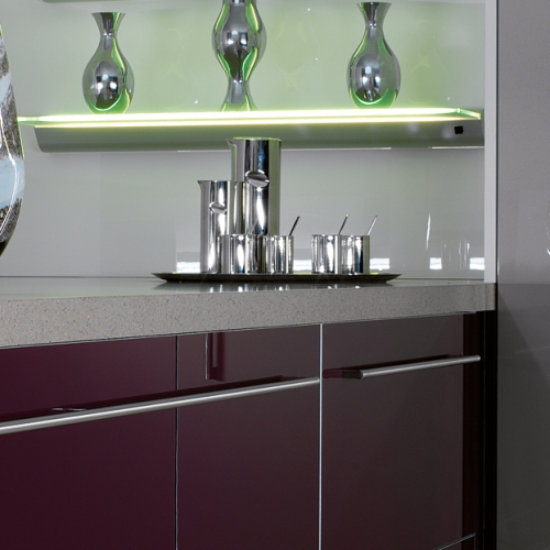 Image of countertop side-board with built in under-shelf lighting