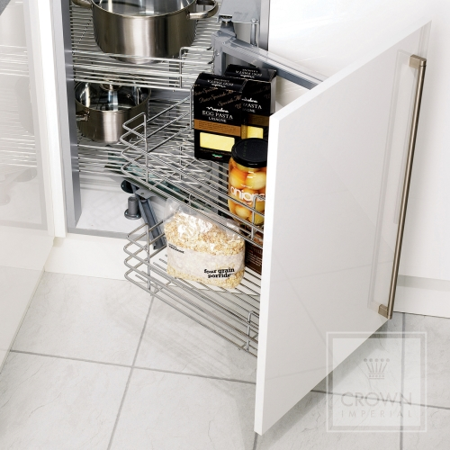 Image of hinged pull out corner storage for kitchens