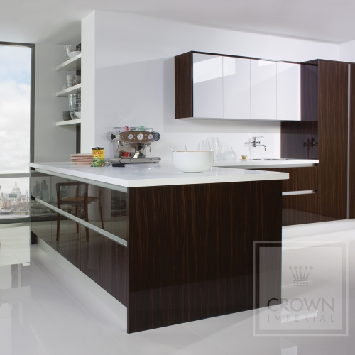 Image of kitchen using modern wood from the Furore range