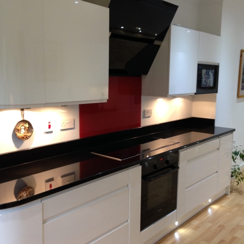 Image of installed black granite countertop