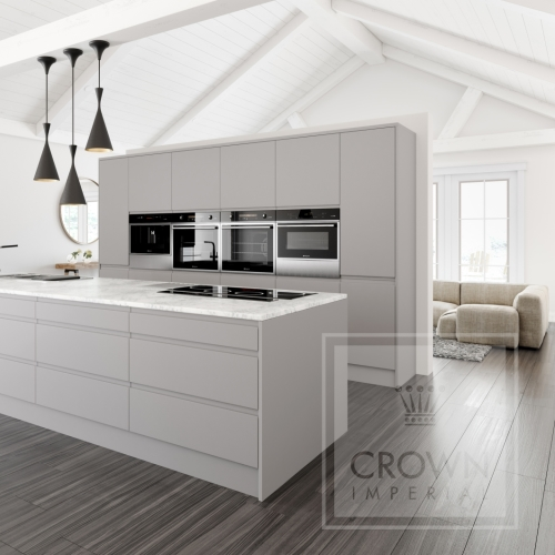 Image of kitchen with grey matt cabinets, wood floors and white accents