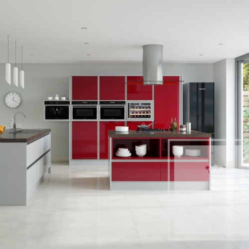 Image of kitchen with red gloss cabinetry and white accents