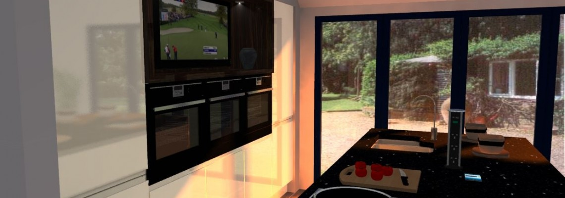 Image of a custom kitchen design using 3D technology