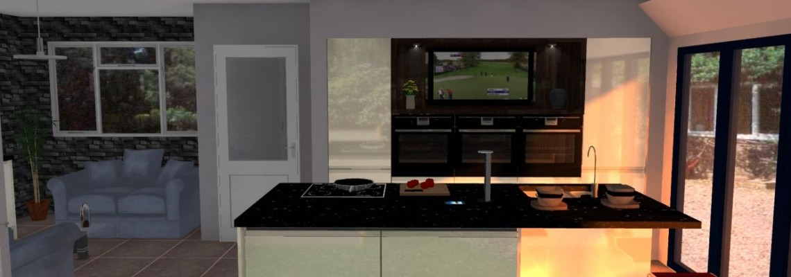 Image of 3D custom kitchen design