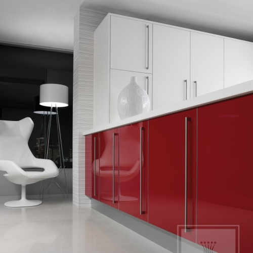 Custom red and white cabinetry with white accents