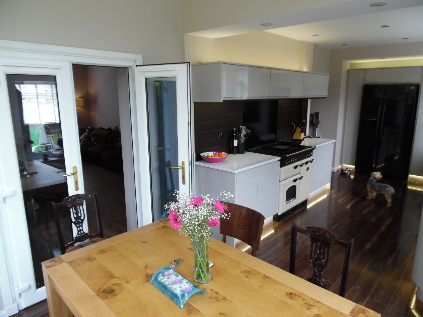 Dining area with doors through to sitting area