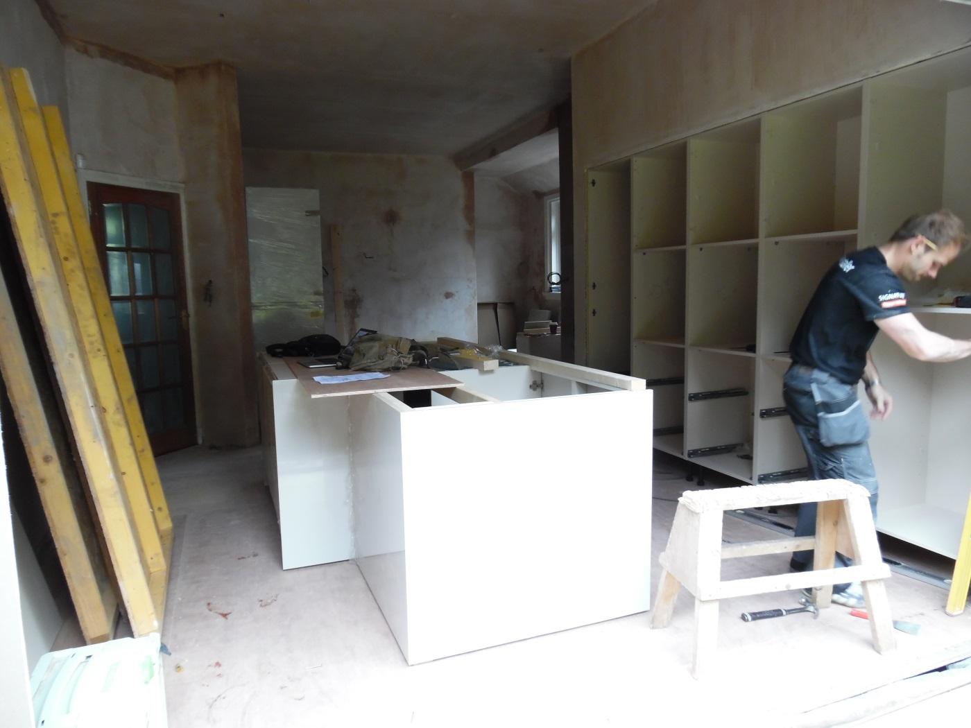 Kitchen fitter at work