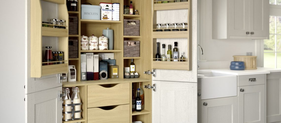 Image of two door fully stocked and organised pantry