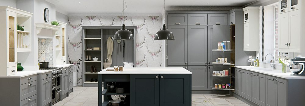 Kitchen in shades of grey with accent wallpaper