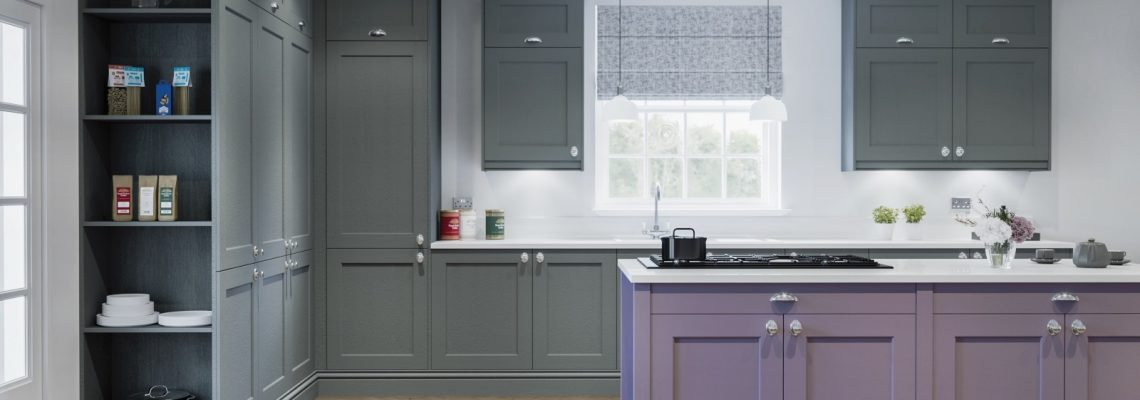 Kitchen in grey and lavender